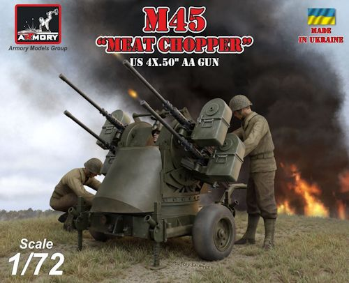 ARMORY 72239 M45 Quadmount, U.S. WWII 4x 12.7mm M2HB Turret on M20 trailer