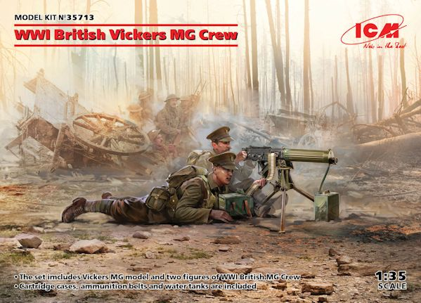 ICM 35713 WWI British Vickers MG Crew (Vickers MG & 2 figures) (100% new molds