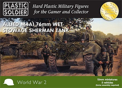 Plastic Soldier WW2V15008 Allied M4A1 76mm Wet Arrimage Sherman